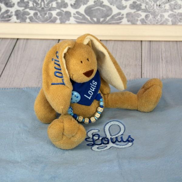 Exklusivset: Hase, Halstuch, Schnullerkette und Decke mit Wunschname (Modell Louis)