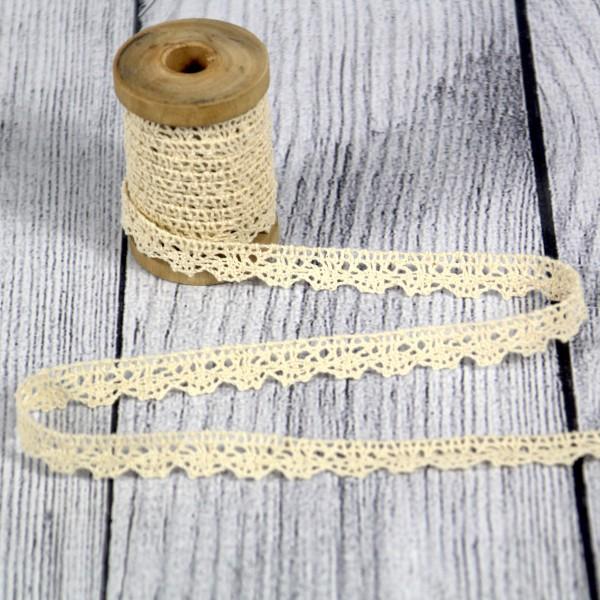 Klöppelspitze 11 mm Baumwolle creme