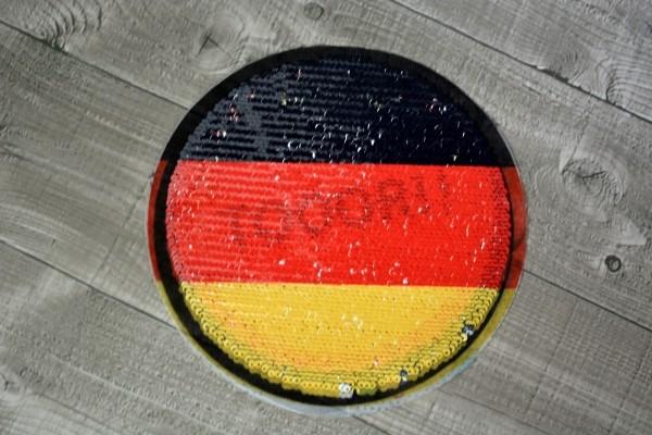 DEALBügelbild Wendepailletten Fußball WM schwarz/rot/gelb