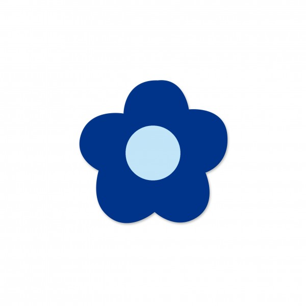 Ausverkauf Motivperle Mini-Blume horizontal dunkelblau/babyblau