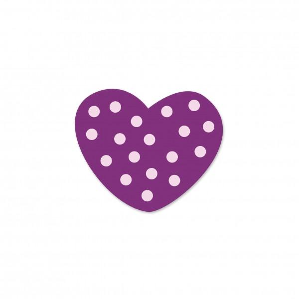 Ausverkauf Motivperle Mini-Tupfenherz horizontal violett/babyrosa