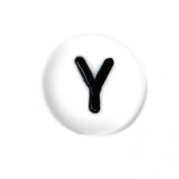 weisse Buchstabenperlen 7 mm Y