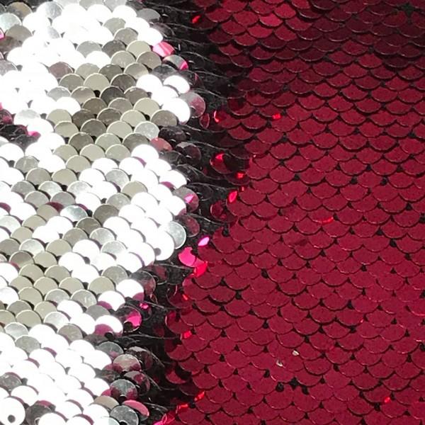 Wendepaillettenstoff pink glänzend / silber glänzend
