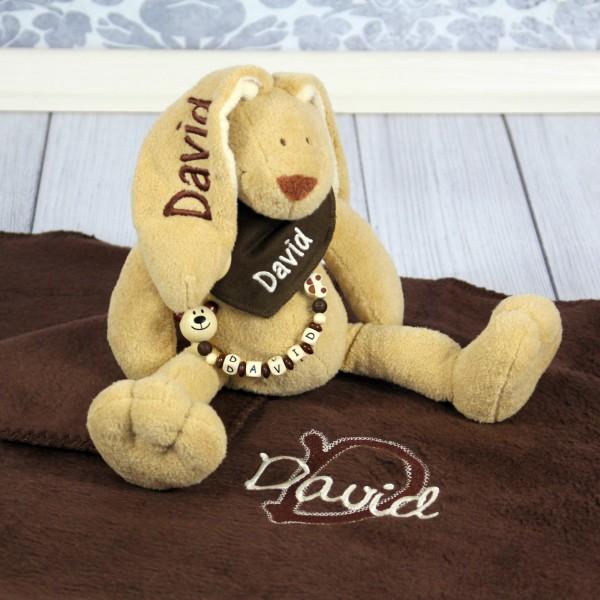 Exklusivset: Hase, Halstuch, Schnullerkette und Decke mit Wunschname (Modell David)