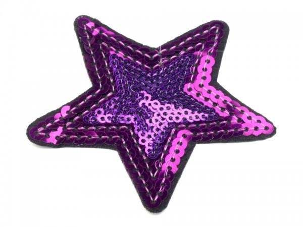 Bügelbild Applikation Stern mit Pailletten violett