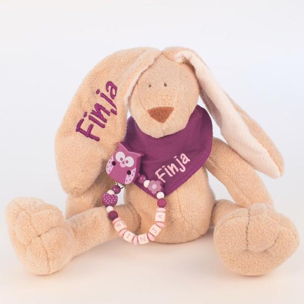 Klassikset: Hase, Halstuch und Schnullerkette mit Wunschname (Modell Finja)