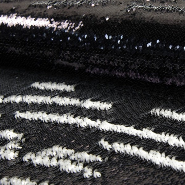 Wendepaillettenstoff schwarz glänzend / weiß glänzend