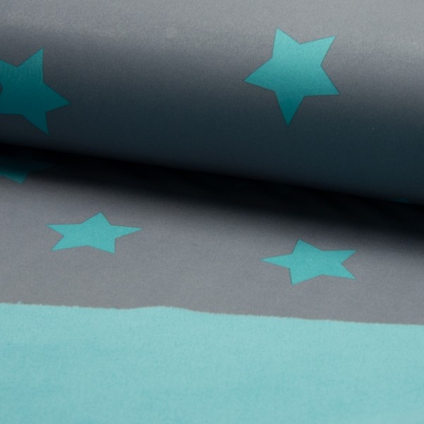 Softshell mit Sternen grau/mint
