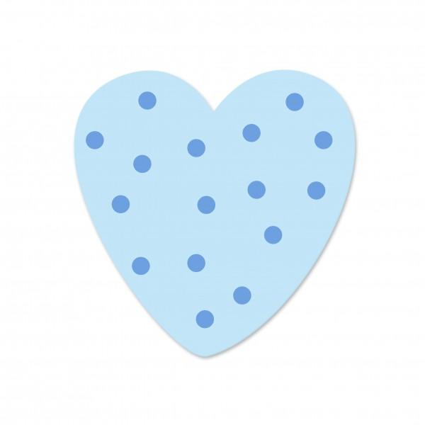 Ausverkauf Motivperle Tupfenherz horizontal babyblau/hellblau