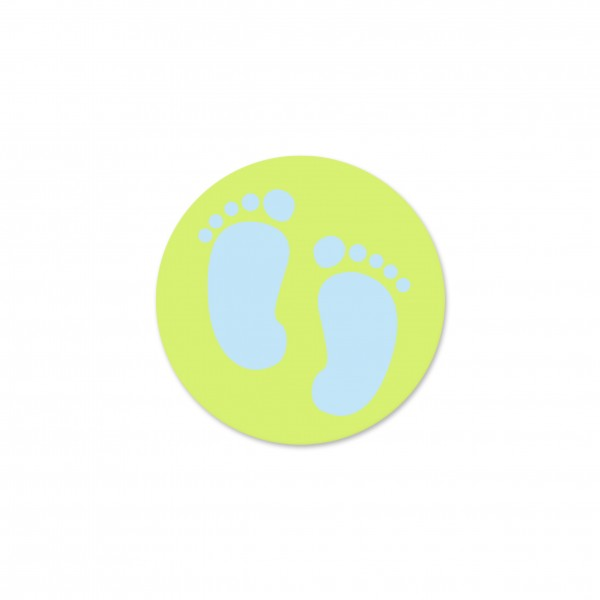 Motivperle Füsschen horizontal lemon/babyblau