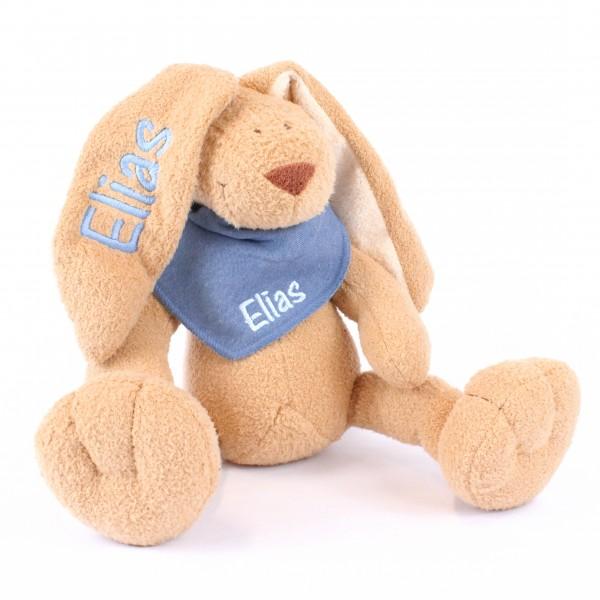 Hase und Halstuch mit Wunschname jeansblau/babyblau (Modell Elias)