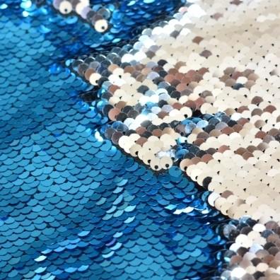 Wendepaillettenstoff aqua glänzend / silber glänzend