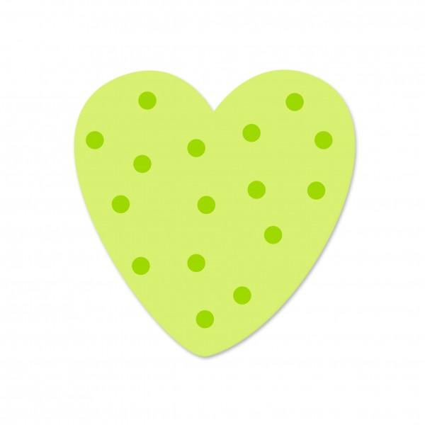 Ausverkauf Motivperle Tupfenherz horizontal lemon/apfelgrün