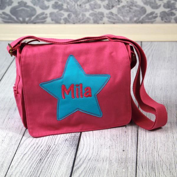 Schultertasche mit Sternapplikation Mila in pink/türkis