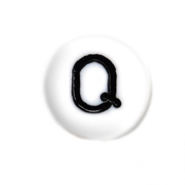 weisse Buchstabenperlen 7 mm Q