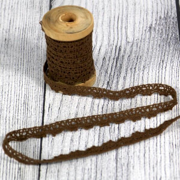 Klöppelspitze 11 mm Baumwolle braun