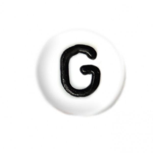 weisse Buchstabenperlen 7 mm G