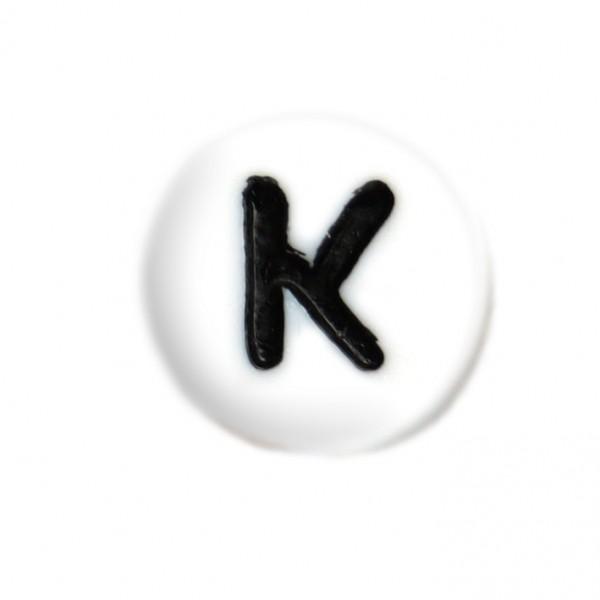 weisse Buchstabenperlen 7 mm K