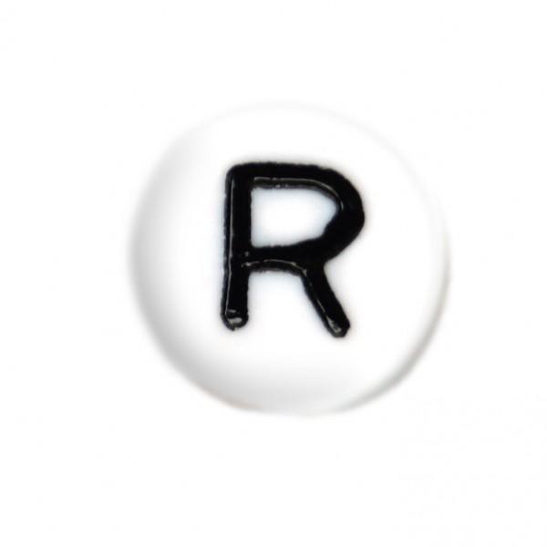 weisse Buchstabenperlen 7 mm R