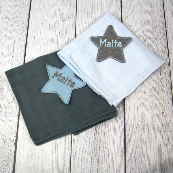 Mulltücher im 2er-Set grau/hellblau (Modell Malte)