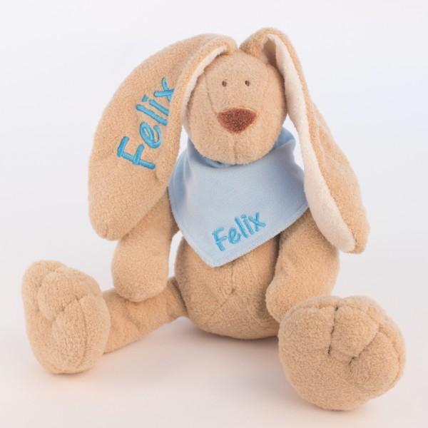 Hase und Halstuch mit Wunschname skyblau/babyblau (Modell Felix)