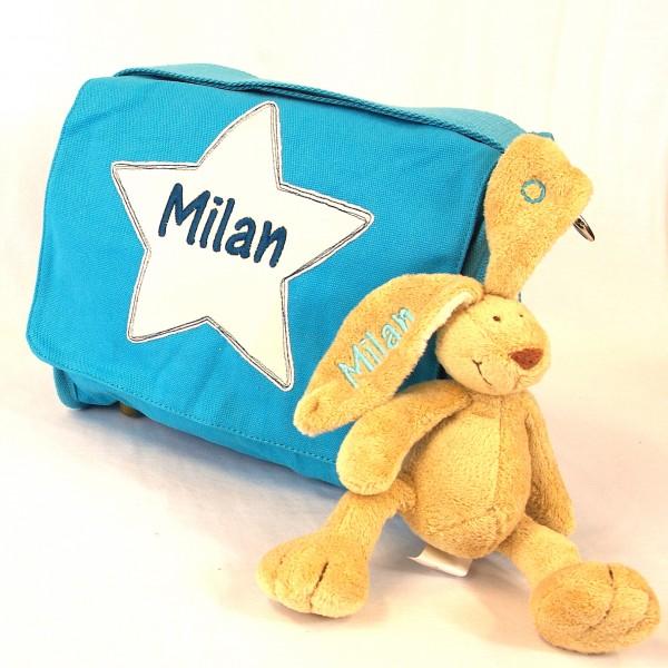 DEAL Schultertasche mit Sternapplikation und Name mit Minihase (Modell Milan)