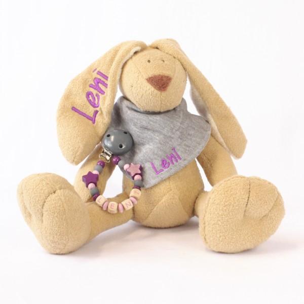 Klassikset: Hase, Halstuch und Schnullerkette mit Wunschname (Modell Leni)