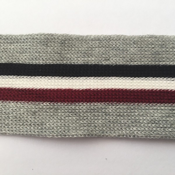 Stripes, hochwertiges, gestricktes Baumwollband grau/marine/creme/dunkelrot