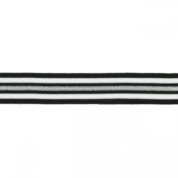 DEAL Stripes, hochwertiges, gestricktes Polyesterband in schwarz/weiß/silber