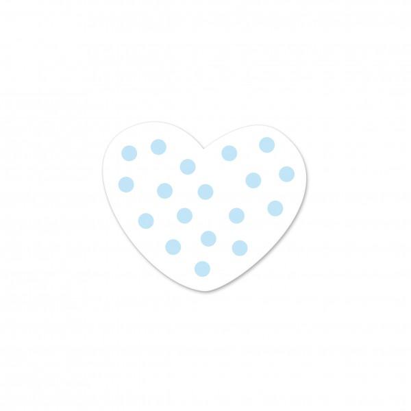 Motivperle Mini-Tupfenherz vertikal weiß/babyblau