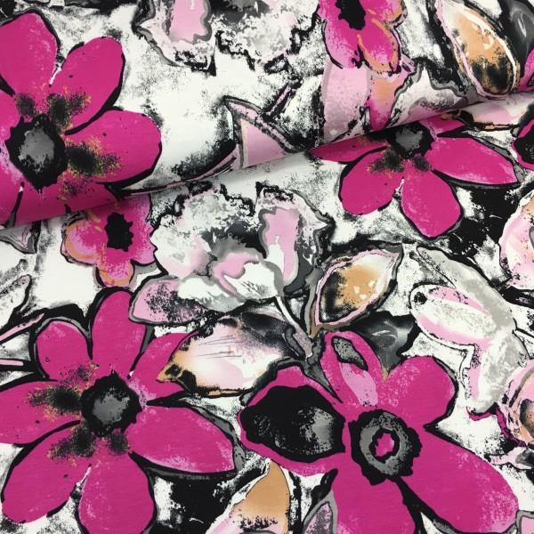 Kennenlernpreis Viskosesweat pinke Blumen