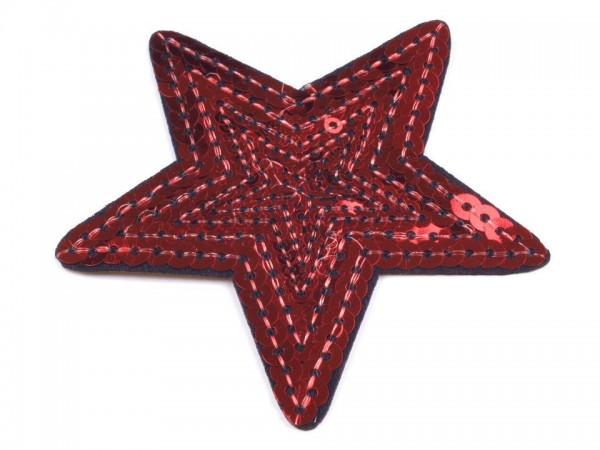 Bügelbild Applikation Stern mit Pailletten rot