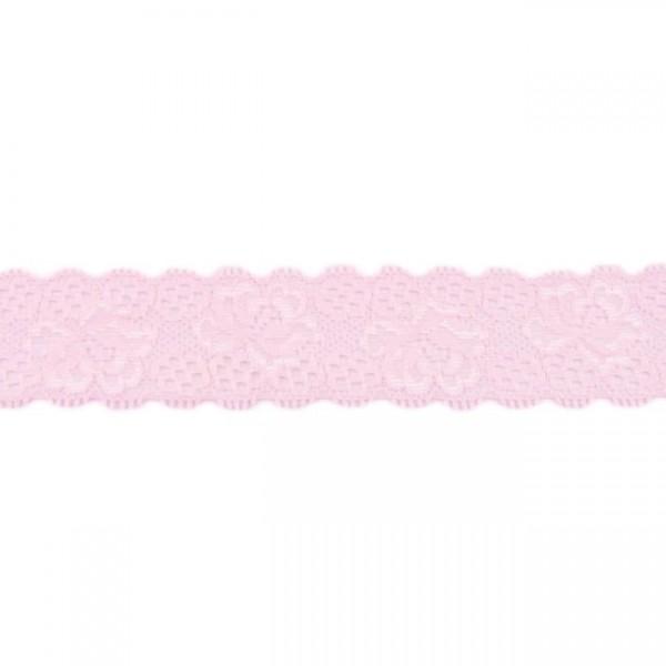 Hochwertige, elastische Spitzenbordüre Blumen rosa (3,5 cm breit)