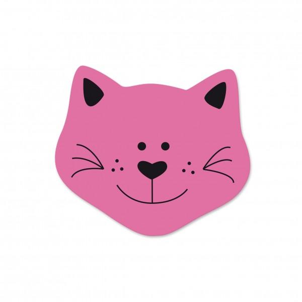 Motivperle Mini-Katze vertikal pink/schwarz