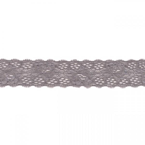 Hochwertige, elastische Spitzenbordüre Blumen grau (3,5 cm breit)