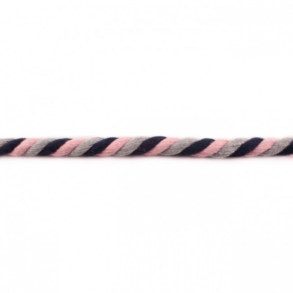 gedrehte Maxi-Kordel 12 mm mehrfarbig rosa/hellgrau/marine