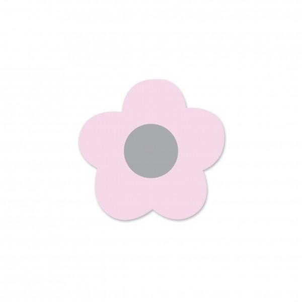Motivperle Mini-Blume horizontal babyrosa/hellgrau