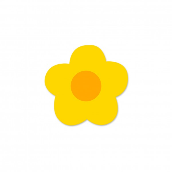 Motivperle Mini-Blume horizontal maisgelb/mitteorange