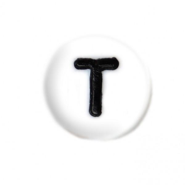 weisse Buchstabenperlen 7 mm T
