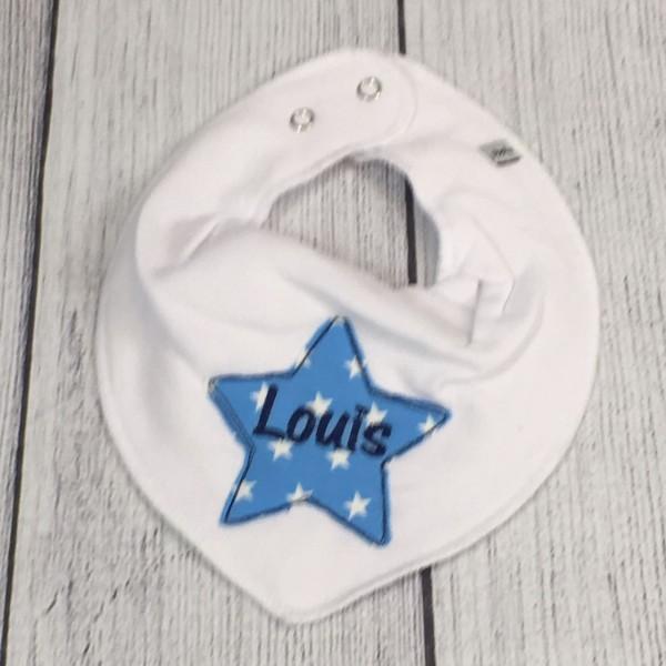 Halstuch mit Sternapplikation und Name weiß/hellblau/mittelblau (Modell Louis)
