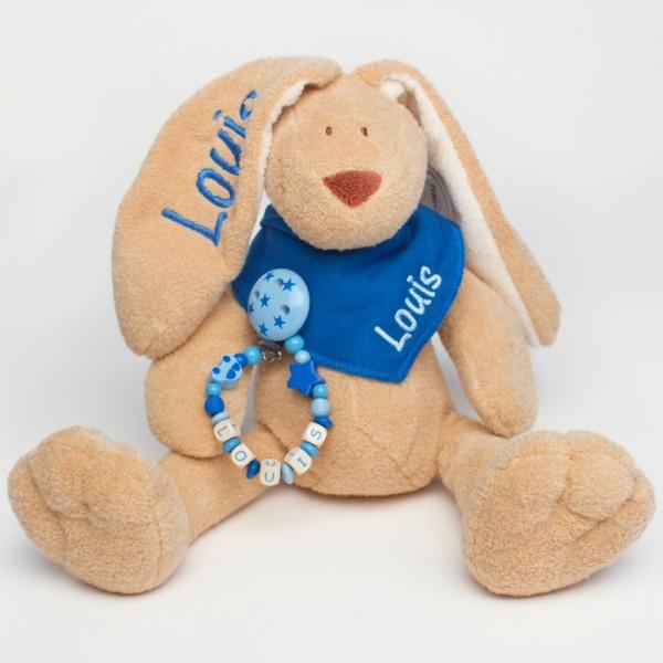 Klassikset: Hase, Halstuch und Schnullerkette mit Wunschname (Modell Louis)