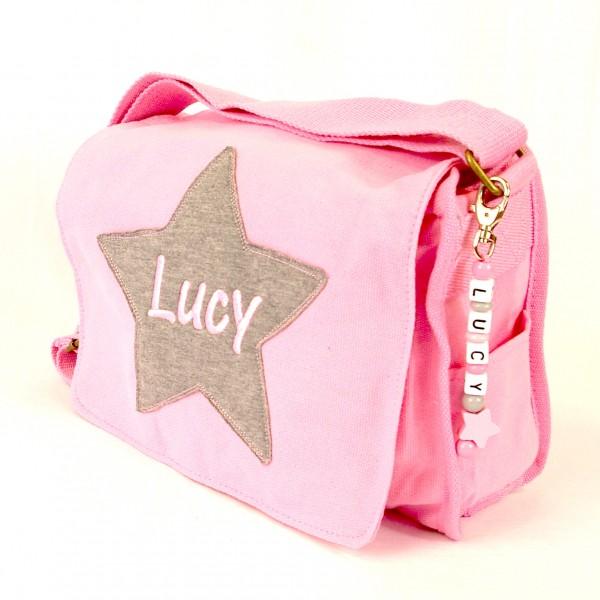 Schultertasche mit Sternapplikation und Name mit Taschenanhänger rosa (Modell Lucy)