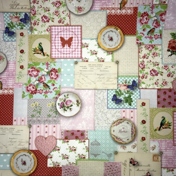 Sale: Baumwollstoff Digitaldruck Sweet floral patch