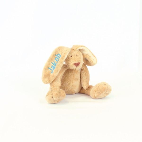 Minihase mit Wunschname skyblau (Modell Jakob)