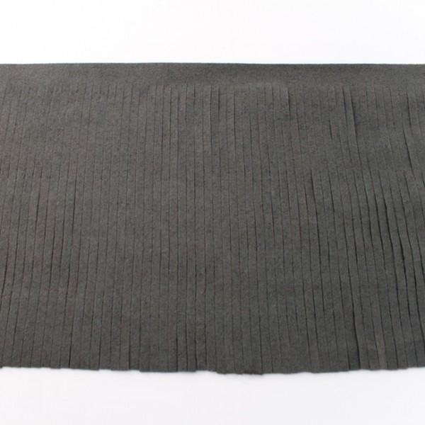 Fransenband Kunstleder 12 cm dunkelgrau
