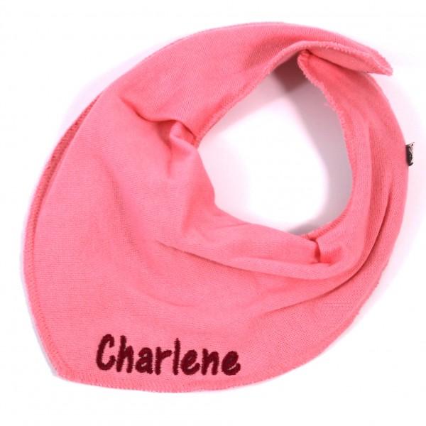 Halstuch mit Name mittelrosa/dunkelpink (Modell Charlene)