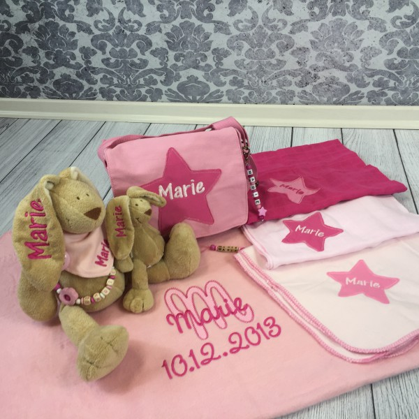 Deluxe-Set: 11 Artikel mit Wunschname rosa/pink (Modell Marie)