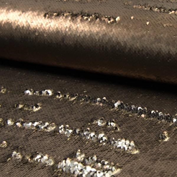 Wendepaillettenstoff Applikationsstück groß bronze matt / silber glänzend 60*50cm