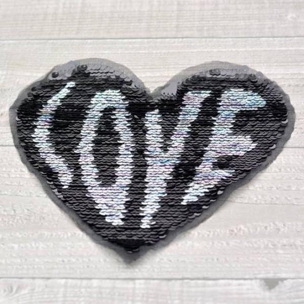 Aufnäher Wendepailletten-Patches Herz Love (kleine Pailletten)