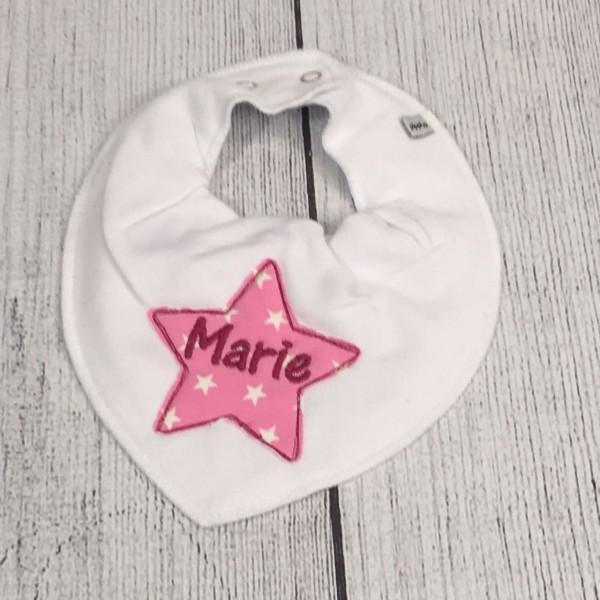 Halstuch mit Sternapplikation und Name weiß/rosa/magenta (Modell Marie)